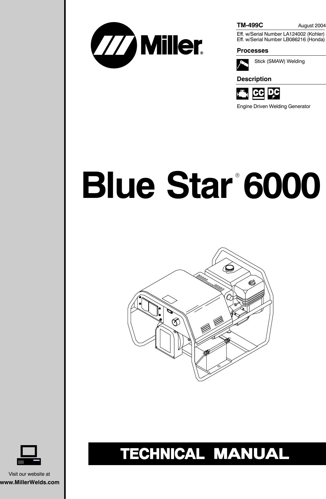 Miller Electric Blue Star 6000 Tm 499c Users Manual T499c Mil Welding Generator Diagram