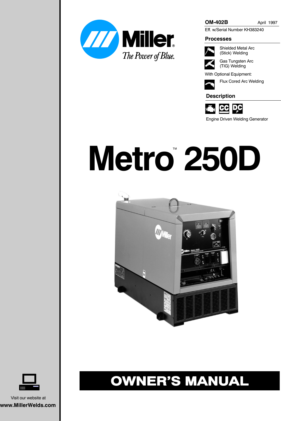 Miller Electric Metro 250D Users Manual O402b_mil