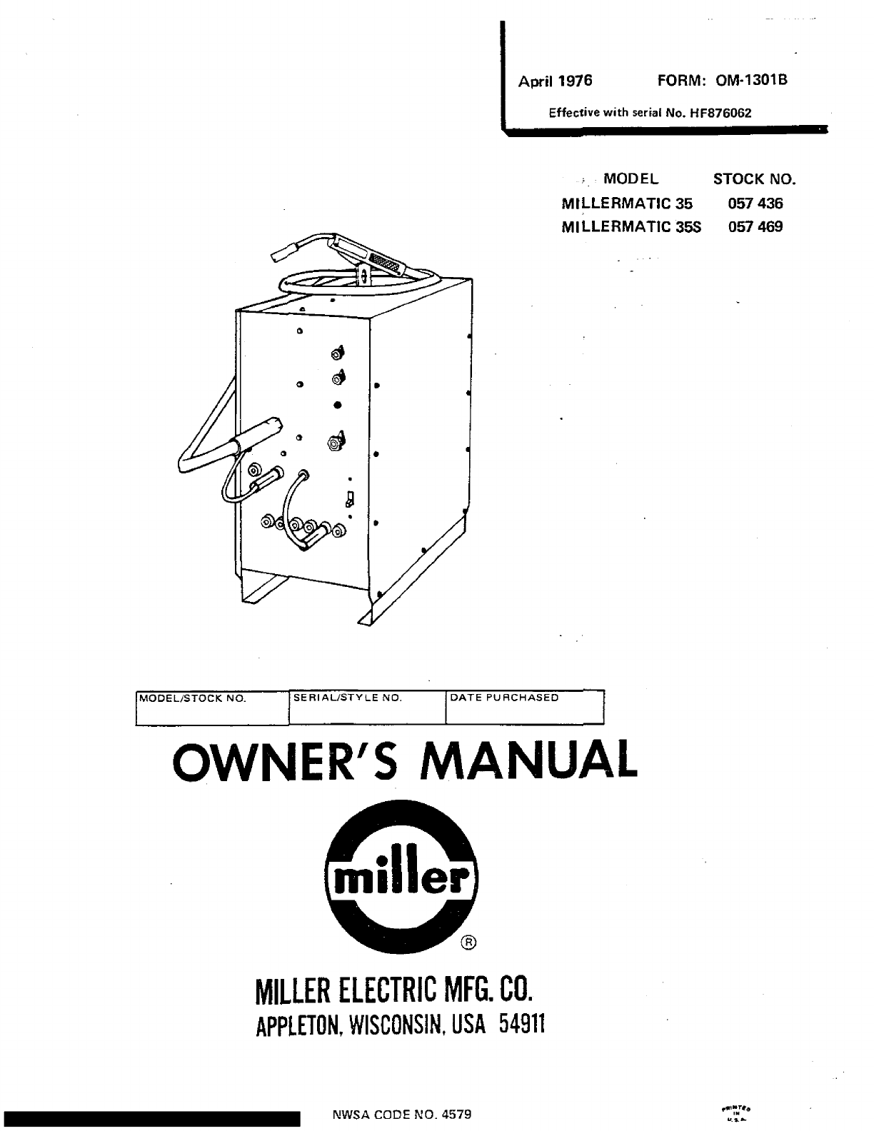 Miller Electric Millermatic 35 Owners Manual ManualsLib Makes It Easy To  Find Manuals Online!