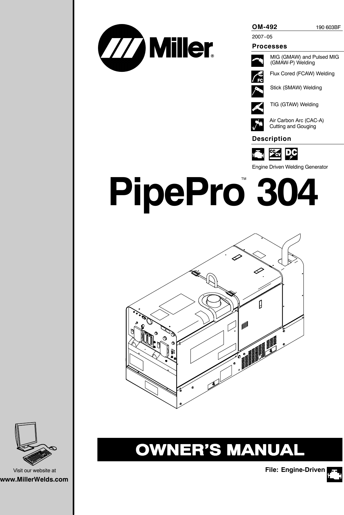 Miller Electric Pipepro 304 Users Manual O492bf Mileco3872 Wiring Schematic Diagram Fuse Box Ford F150 Pickup 4 C3 974 Connector