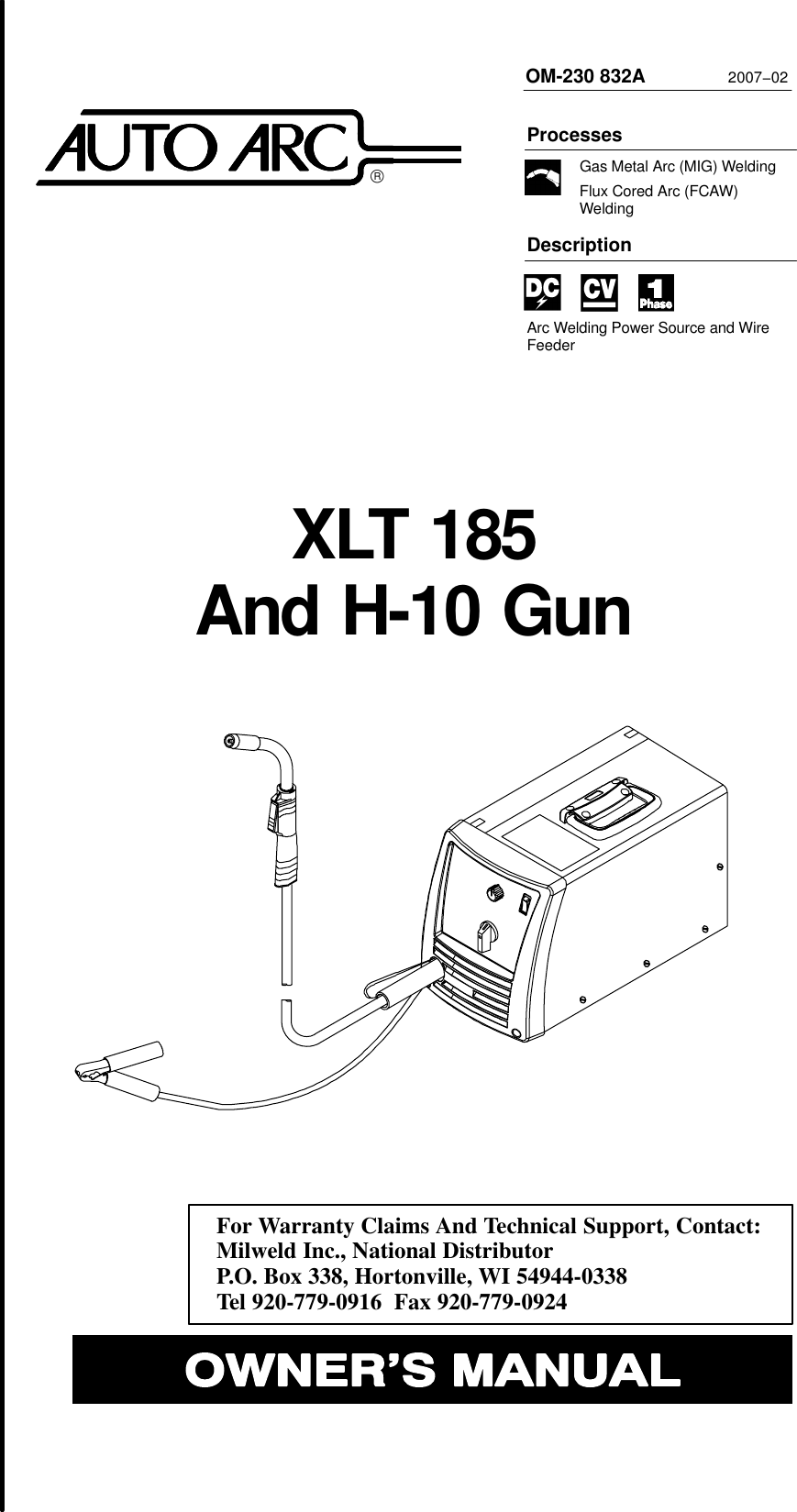 Miller Electric Xlt 185 Users Manual O230832a Aut Diagram Besides Tig Welder Schematic On Can Bus Light Circuit