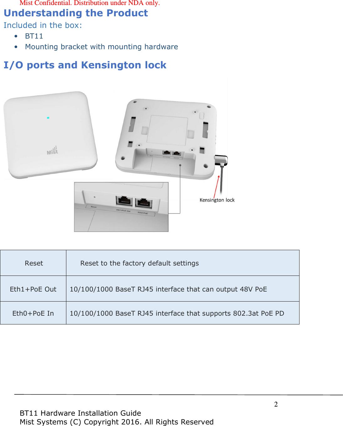 Mist Systems BT11 BLE Array AP - internal Antenna User Manual