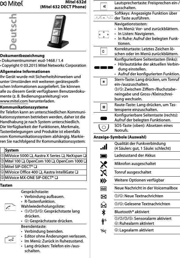 Mitel Deutschland 6X2DV2 Mitel 600 DECT Phones (3rd Gen) User Manual