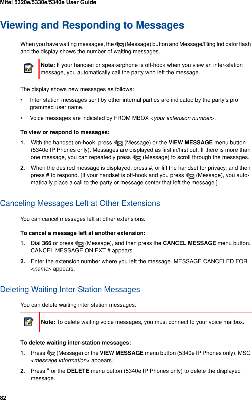 Mitel 5320E Users Manual 5320e/5330e/5340e IP Phones