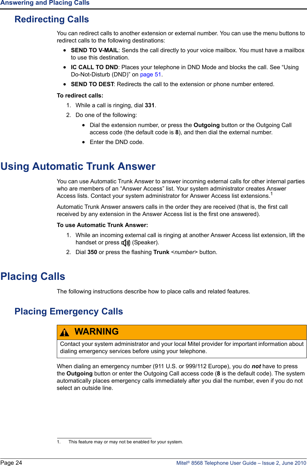 Mitel 8568 Users Manual Telephone User Guide
