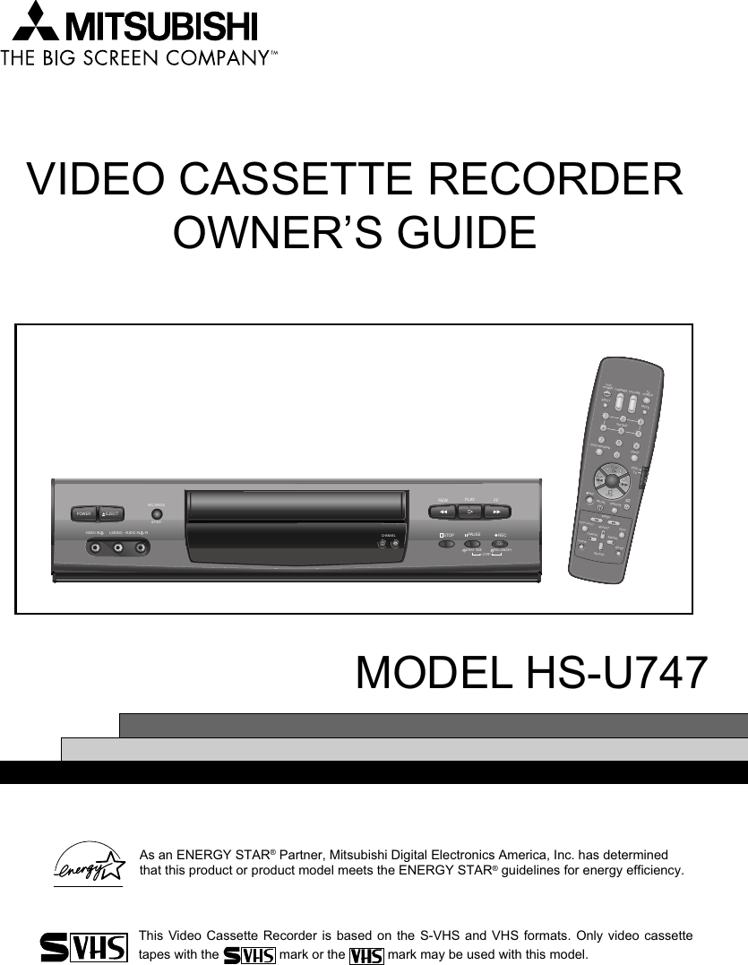 Mitsubishi Electric Hs U747 Video Cassette Recorder User Manual Trouble With Tv Using Vcr And Cable Splitter 00 1 Front Cover