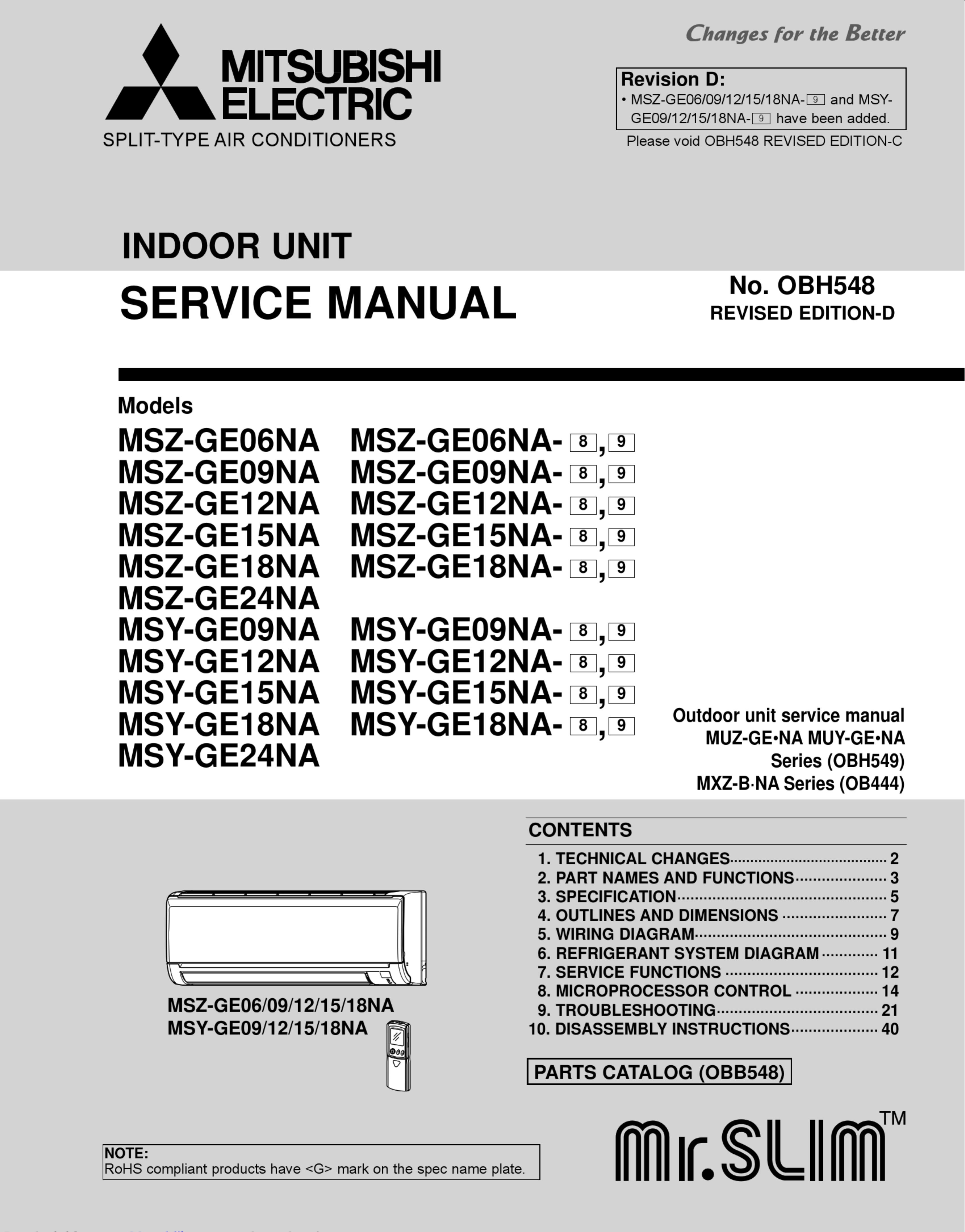 Mitsubishi Electric Msz Ge09na Service Manual 1003213 User Wiring Diagram