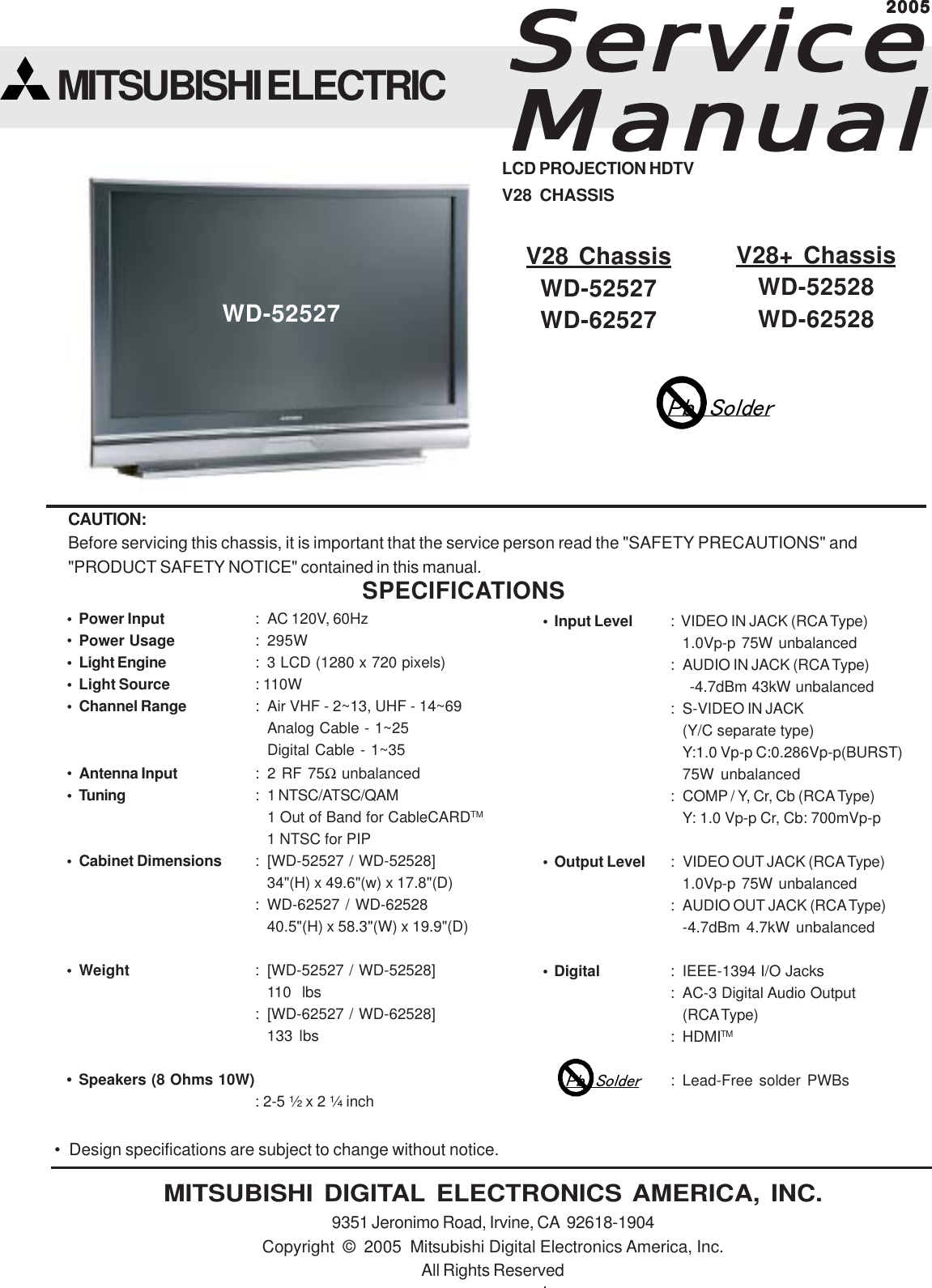 mitsubishi electronics digital flat panel television wd 52528 users rh usermanual wiki mitsubishi wd 52527 manual