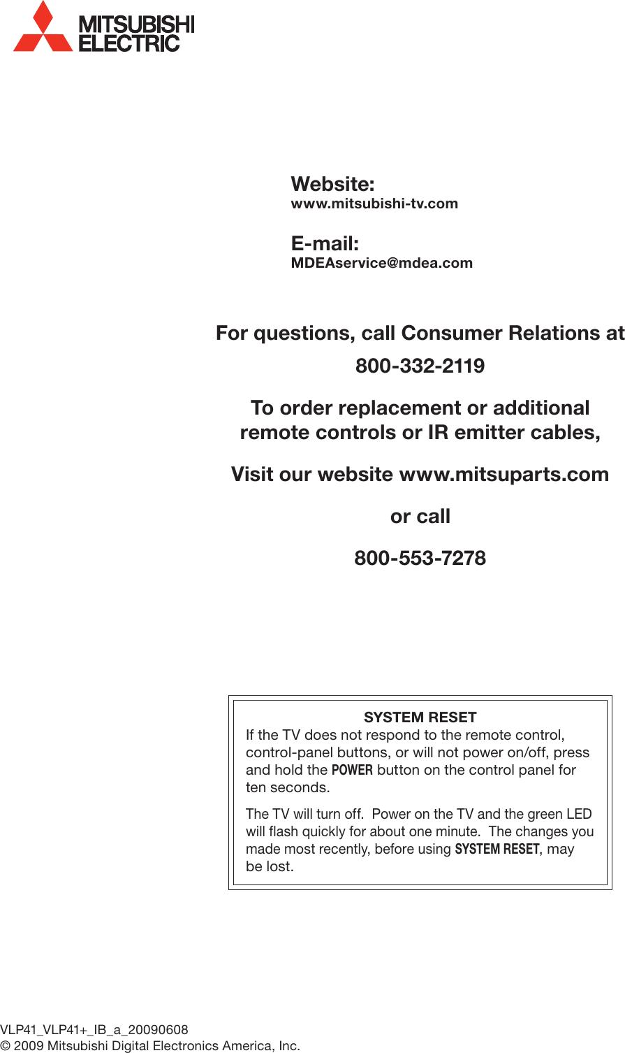 Mitsubishi Electronics Unisen Lt 40151 Users Manual