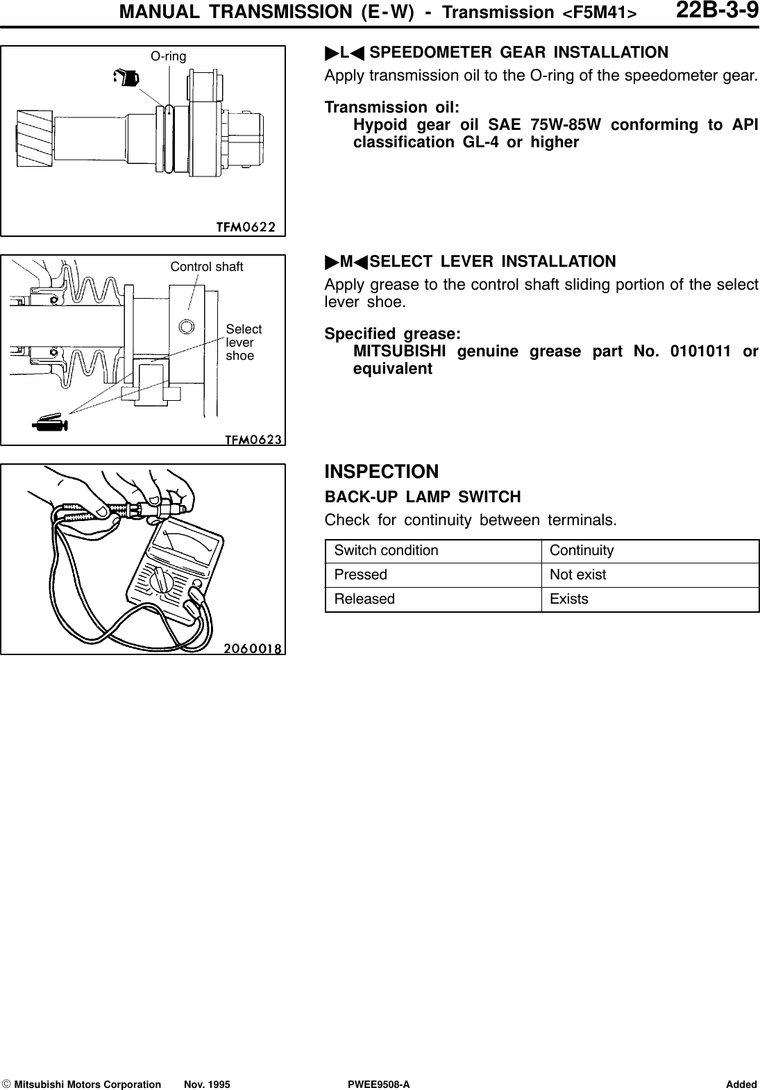 Mitsubishi Motors Automobile Parts F5M41 Users Manual TRANSMISSION
