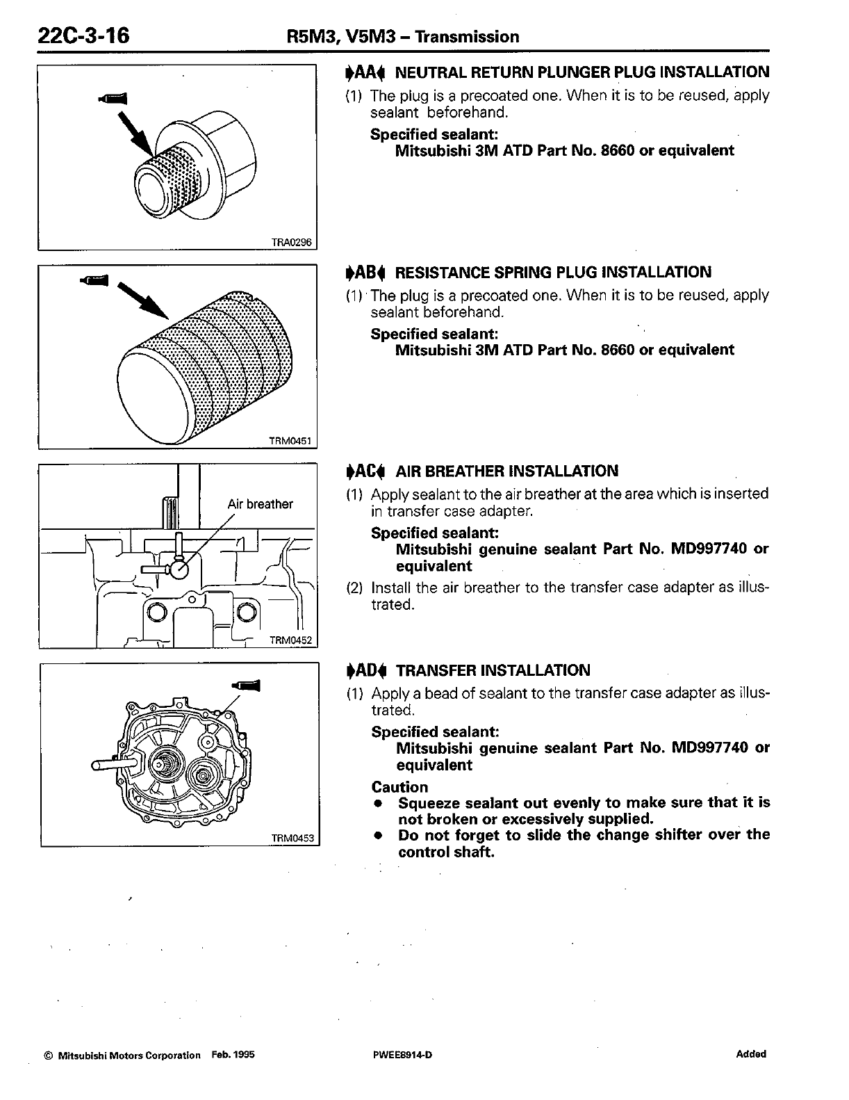 Mitsubishi Motors Automobile R5m3 Users Manual Transmission Workshop Control Notes