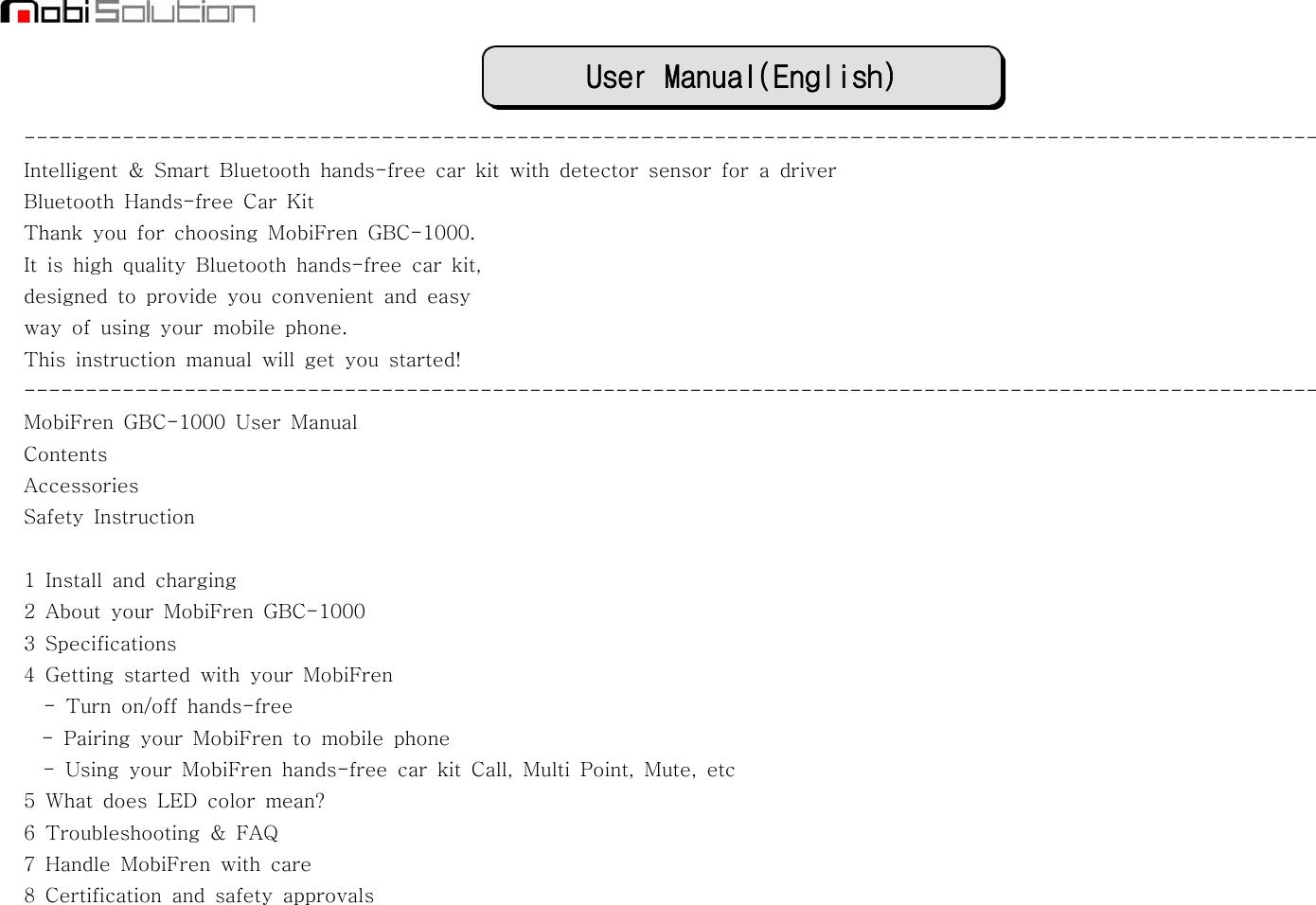 mobifren gbc 1000 bluetooth handsfree car kit user manual rh usermanual wiki gbc laminator user manual gbc c450e user manual