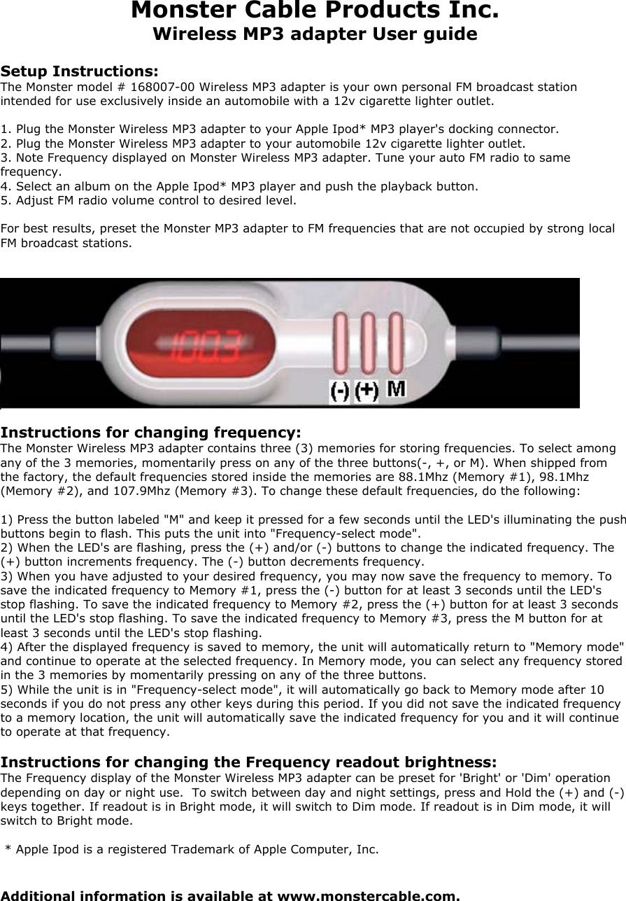 Monster 16800700 Wireless Audio FM Transmitter User Manual 168007 User1