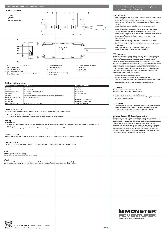 monster 191304 bluetooth speaker user manual 855970