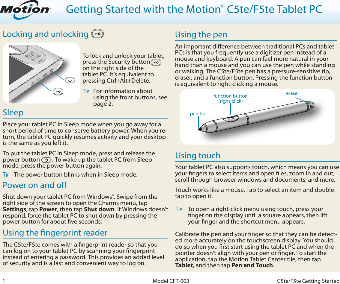 Motion Computing C5Te Windows 8 Getting Started Guide With