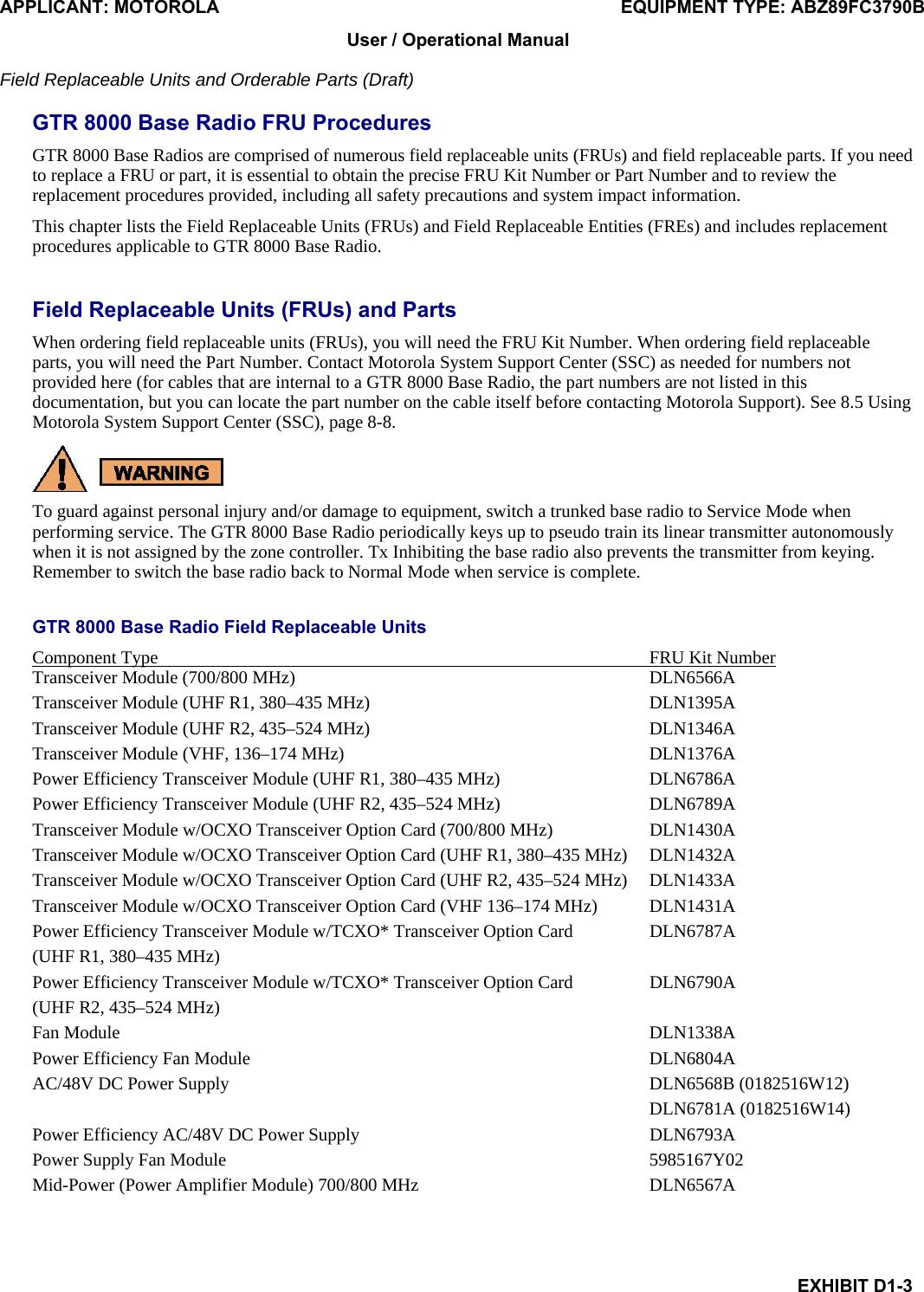 Motorola Solutions 89FC3790B Non Broadcast Transmitter User