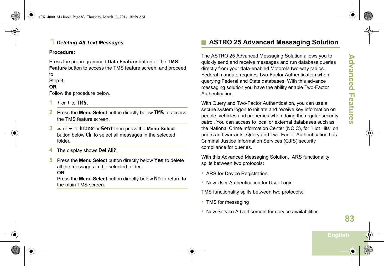 Motorola Solutions 89FT4920 Portable 2-Way Radio User Manual APX