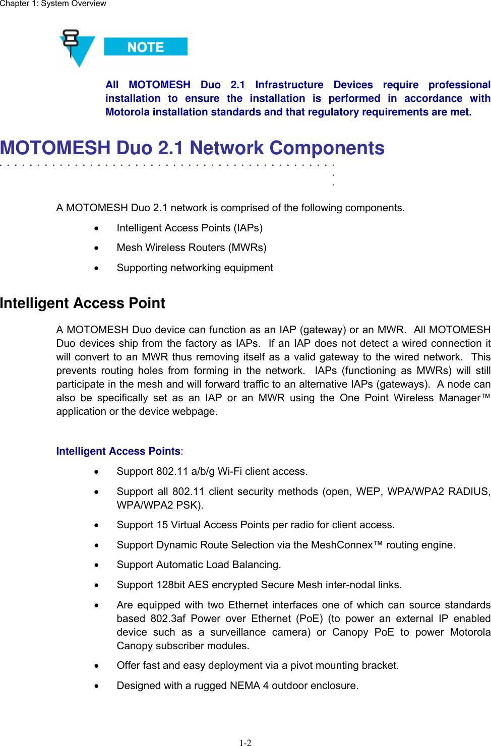 Motorola 2 1 Users Manual MOTOMESH Duo 2 1 Network Setup And