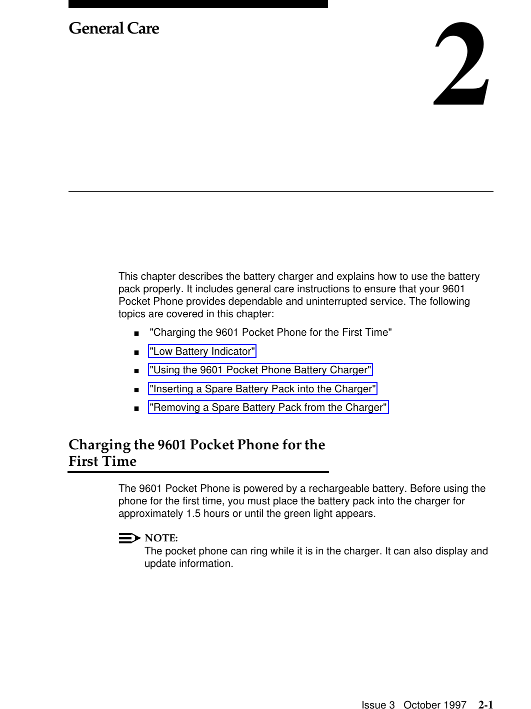 Motorola 9601 Users Manual