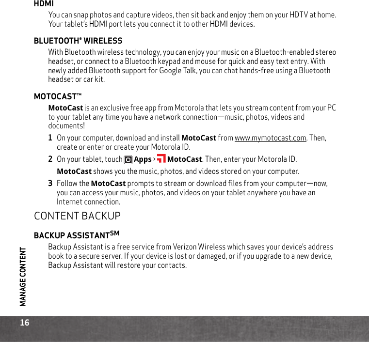 Motorola Droid Xyboard V8 2 Verizon Quick Start Manual