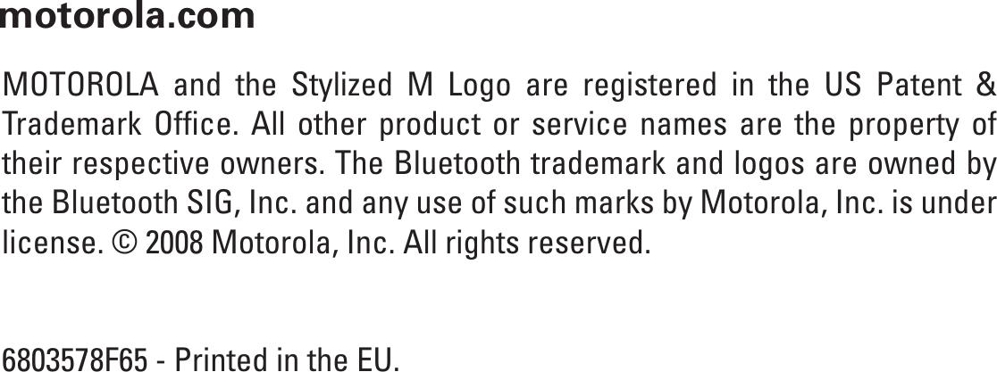 Motorola H270 Users Manual H270_MULTILINGUAL MANUAL_6803578F65