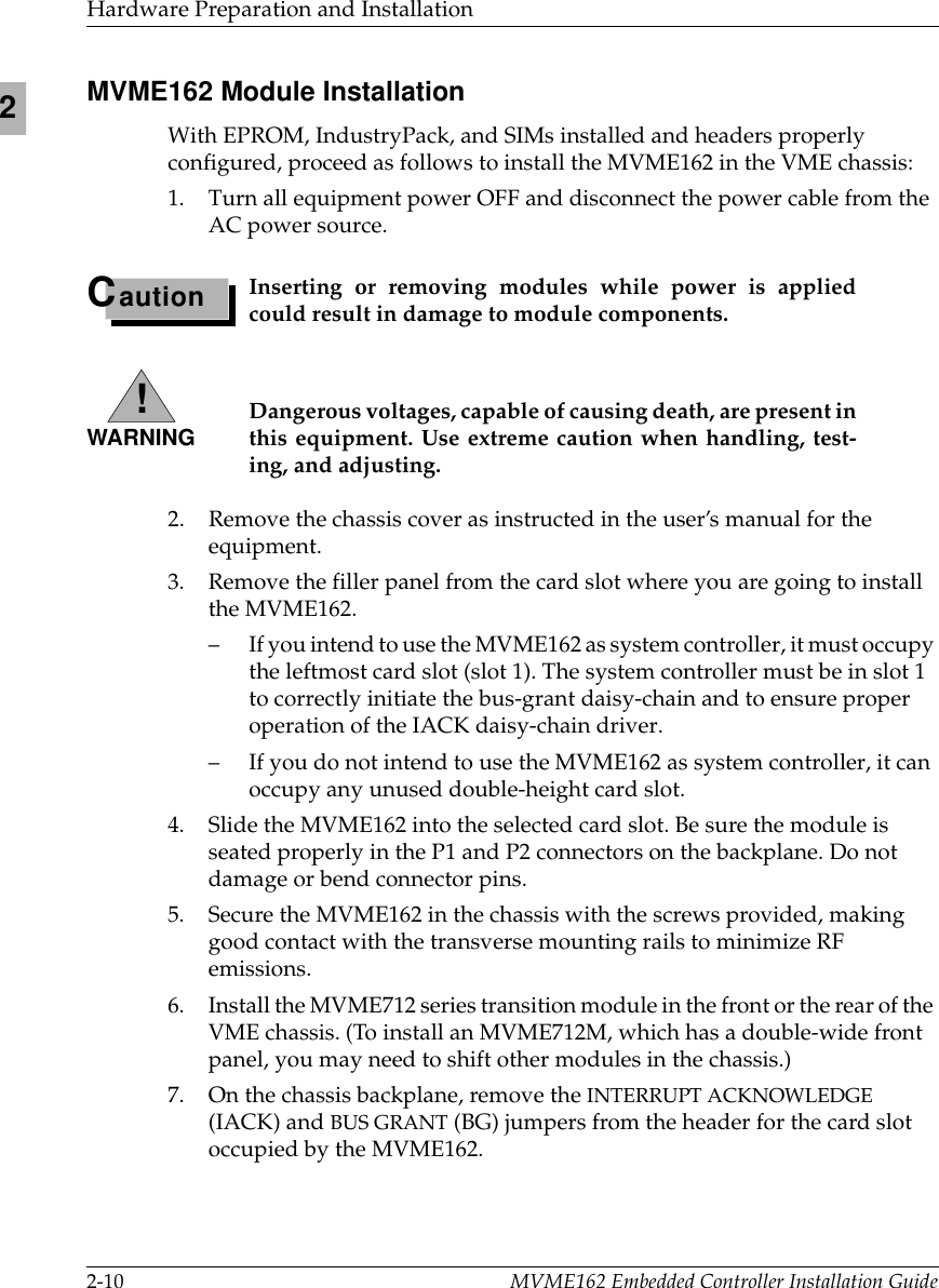 Motorola Computer Hardware Mvme162 Users Manual Embedded