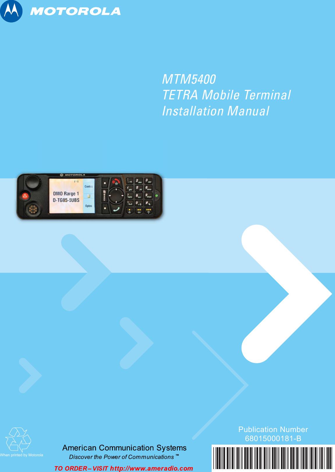 Motorola Crib Toy Mtm5400 Users Manual TETRA Mobile Terminal
