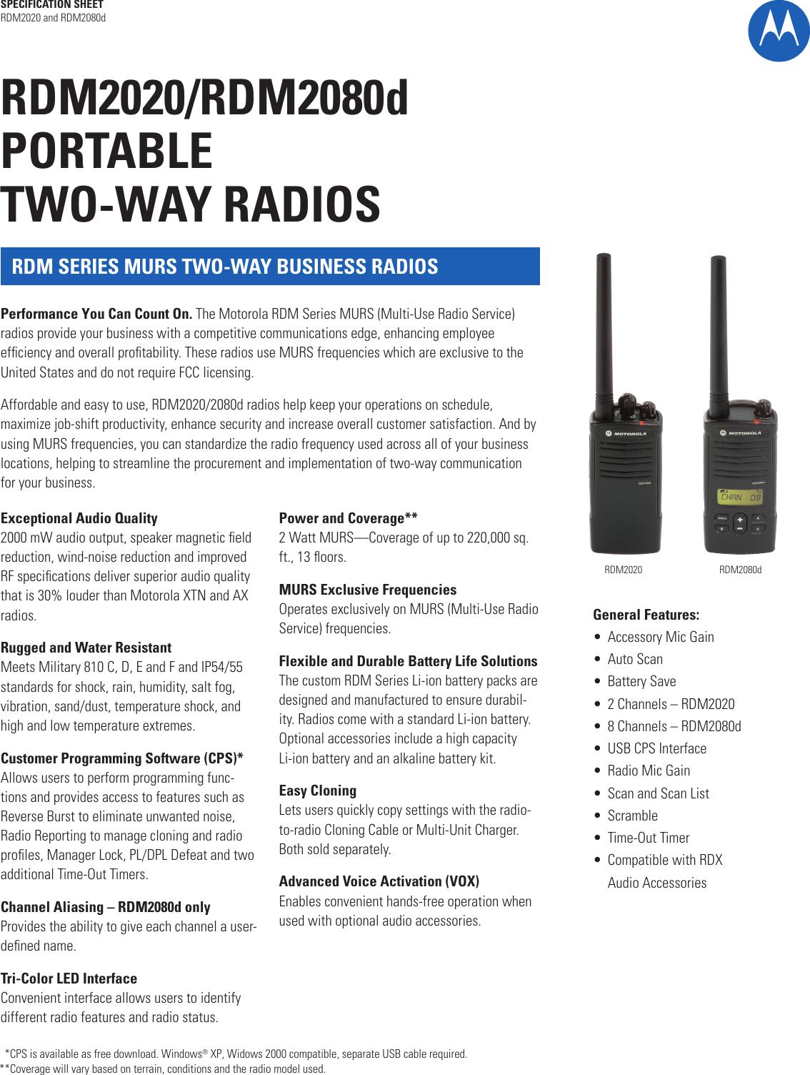 Motorola Rdx Series 2 Watt Murs 8 Channel Rdm2080D Users Manual