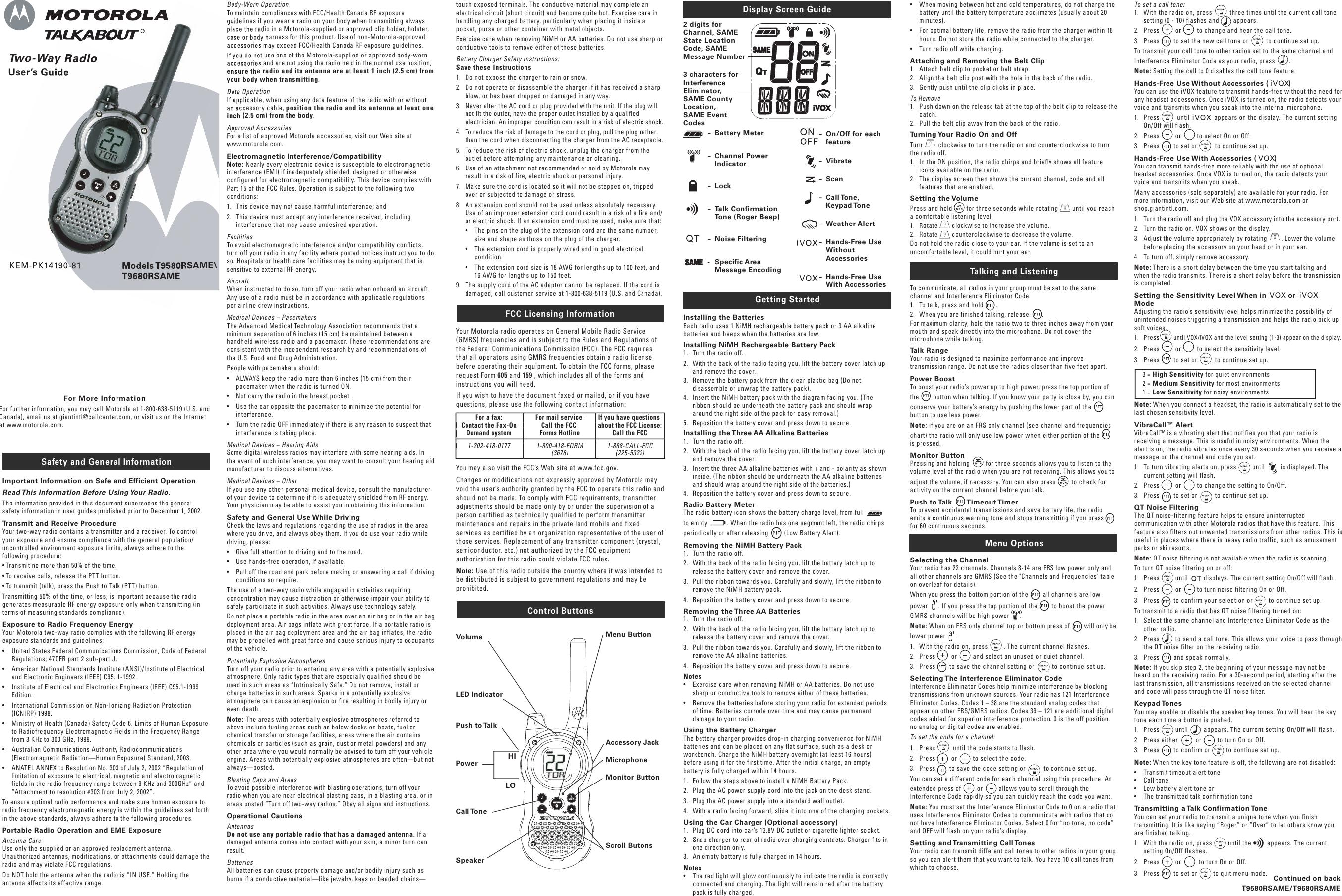 motorola talkabout t9680rsame 2 way radio t9680r users manual rh usermanual wiki motorola talkabout fr60 user manual motorola talkabout t5100 user manual