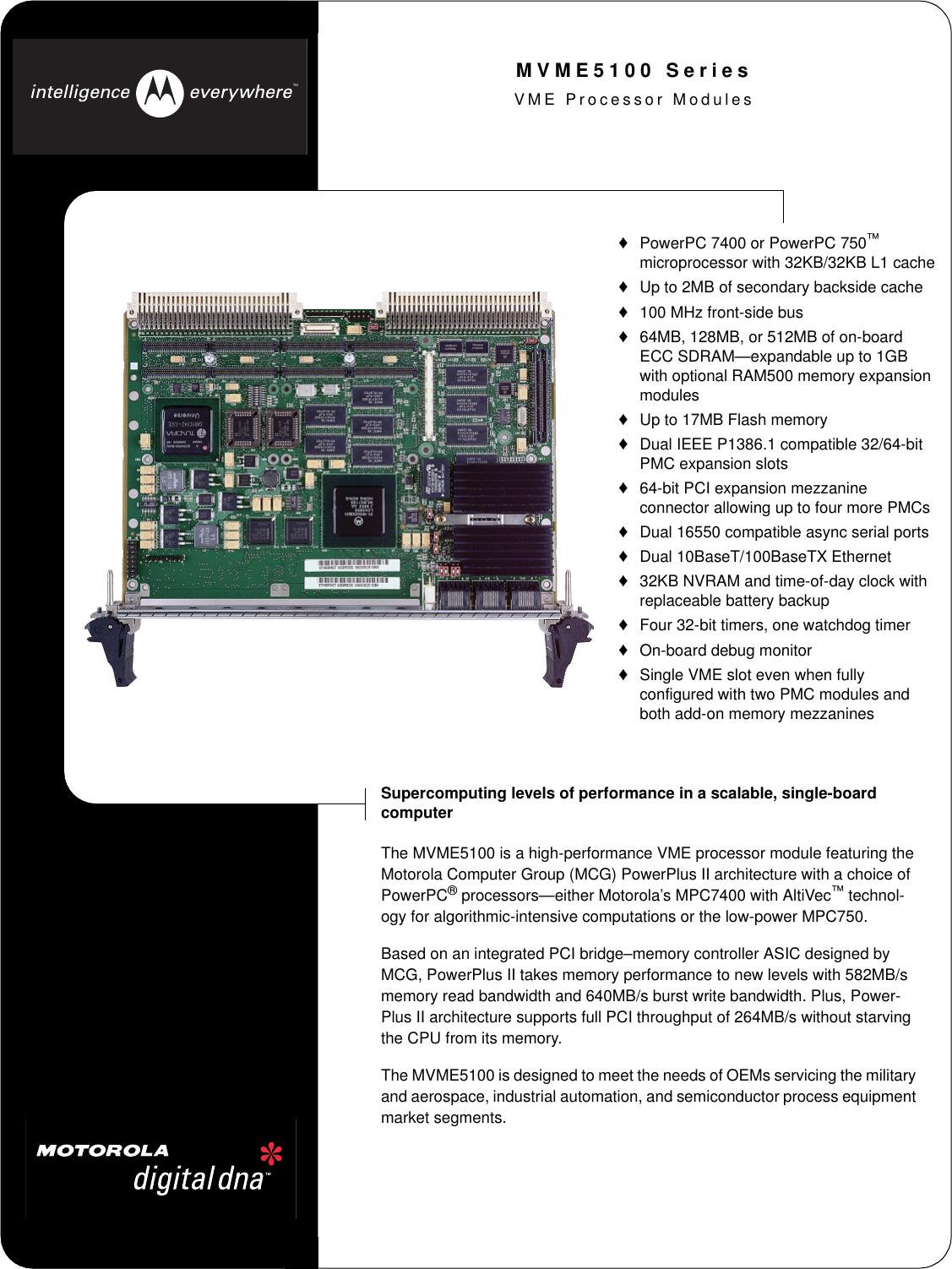 Motorola Mvme5100 Series Users Manual VME Processor Modules