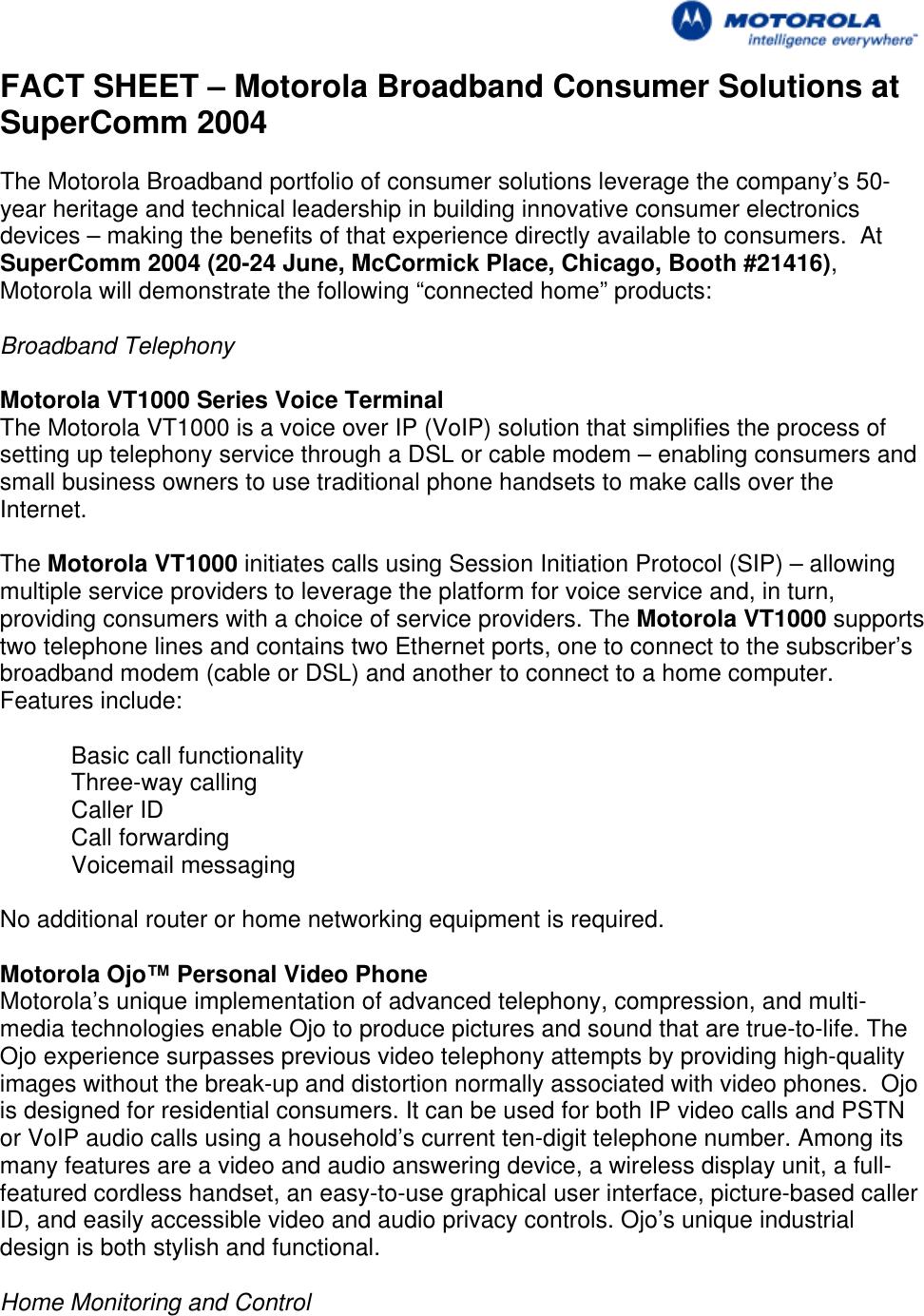 Motorola Supercomm 2004 Vt1000 Users Manual Connected Home