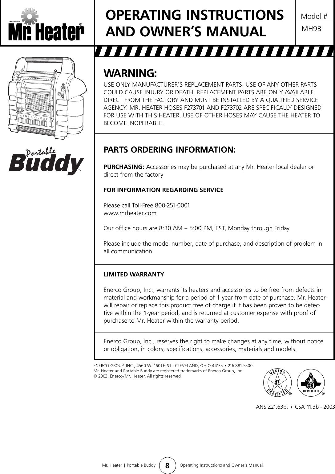 mr heater buddy mh9b users manual buddy 73432 rh usermanual wiki Portable Propane Heaters Mr. Heater Little Buddy