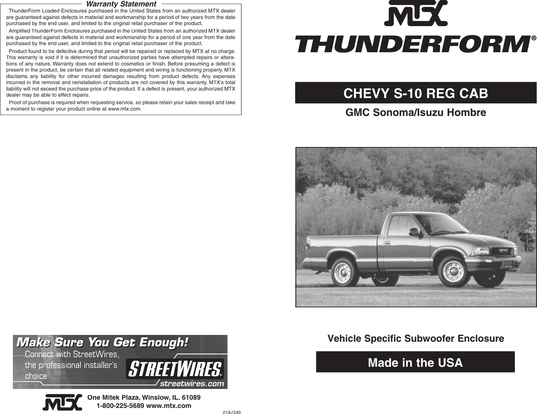 Mtx Audio Thunderform Users Manual Chevy S 10 Reg Cab (21A7240)