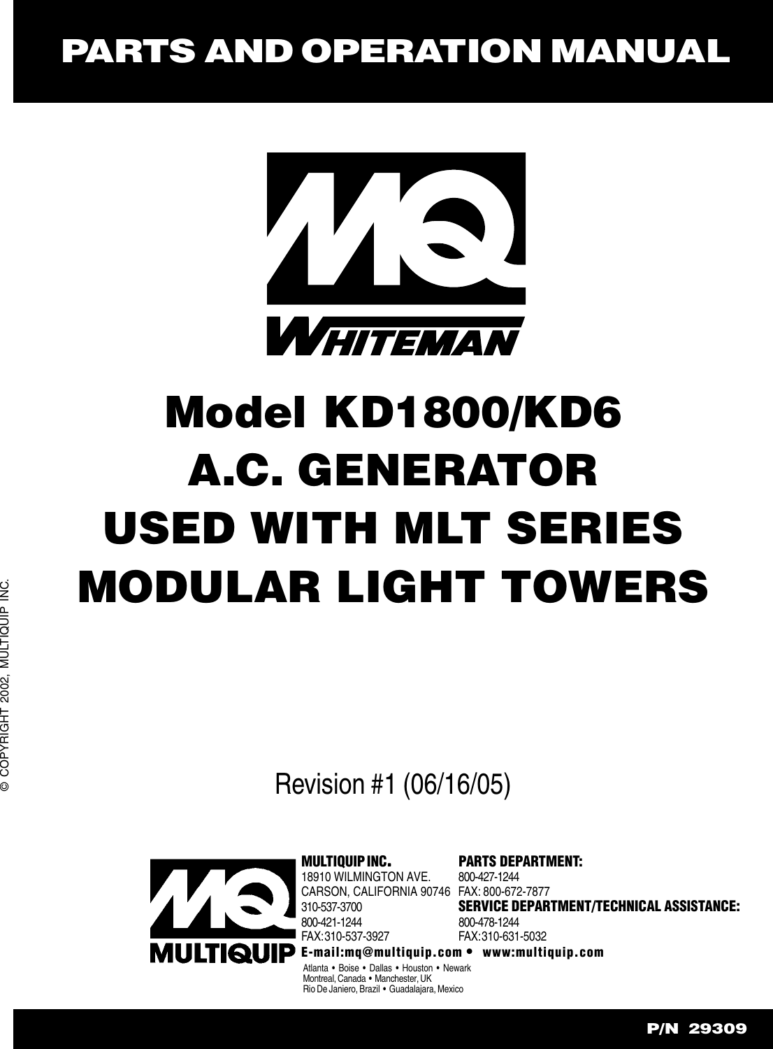 Generator Wire Kubota D905ebg Real Wiring Diagram Breeze Fan Harbor Switch 00033906 Multiquip A C Used With Mlt Series Modular Light Towers Rh Usermanual Wiki