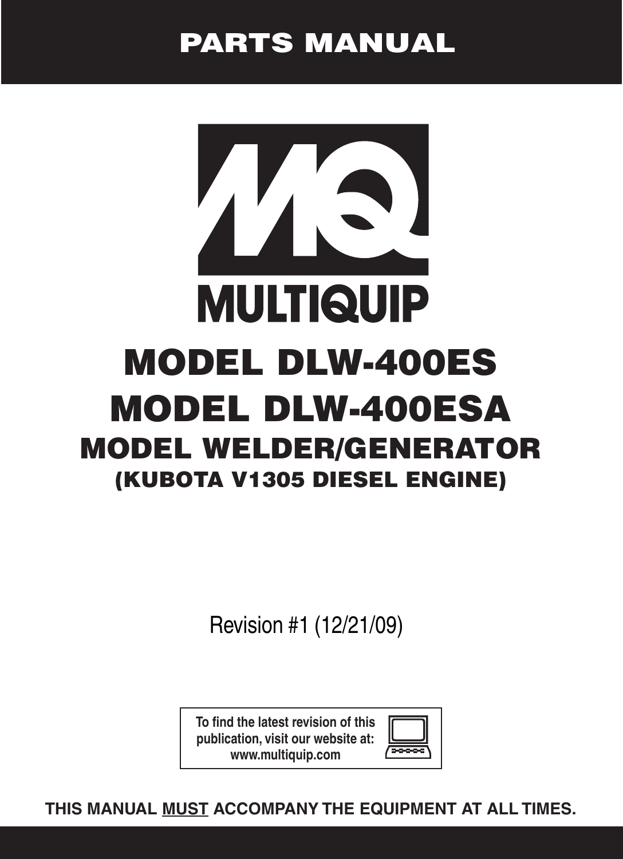 Multiquip Dlw 400es Users Manual Parts Rev 1 122109pmd Welding Machine Diagram