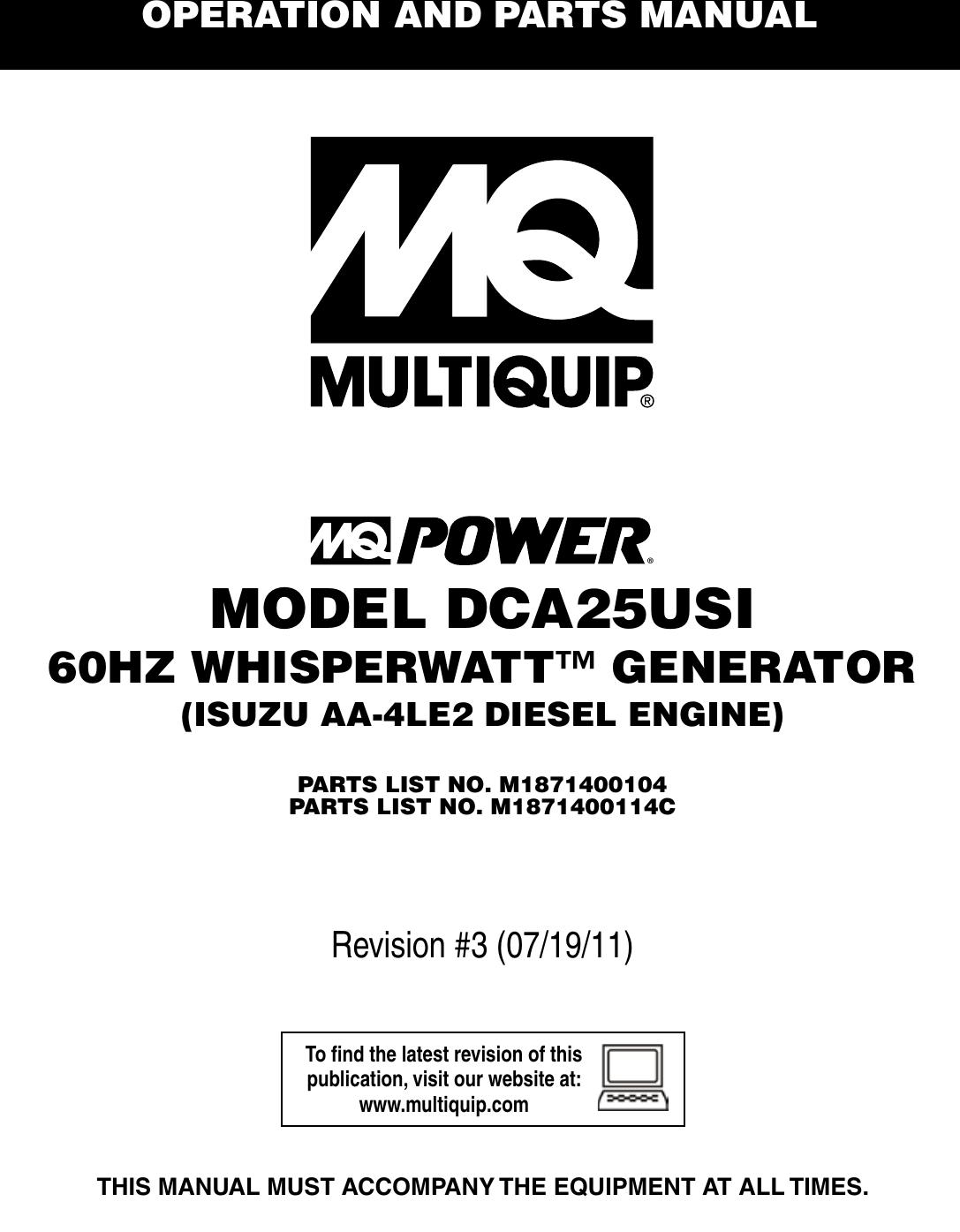 Multiquip Mq Power 60hz Whisperwatt Generator Dca25usi Users Manual Isuzu Alternator Wiring Diagram Schematic Formula