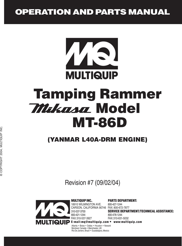 Multiquip Automobile Parts Mt 86D Users Manual REV 6 (OLD) p65