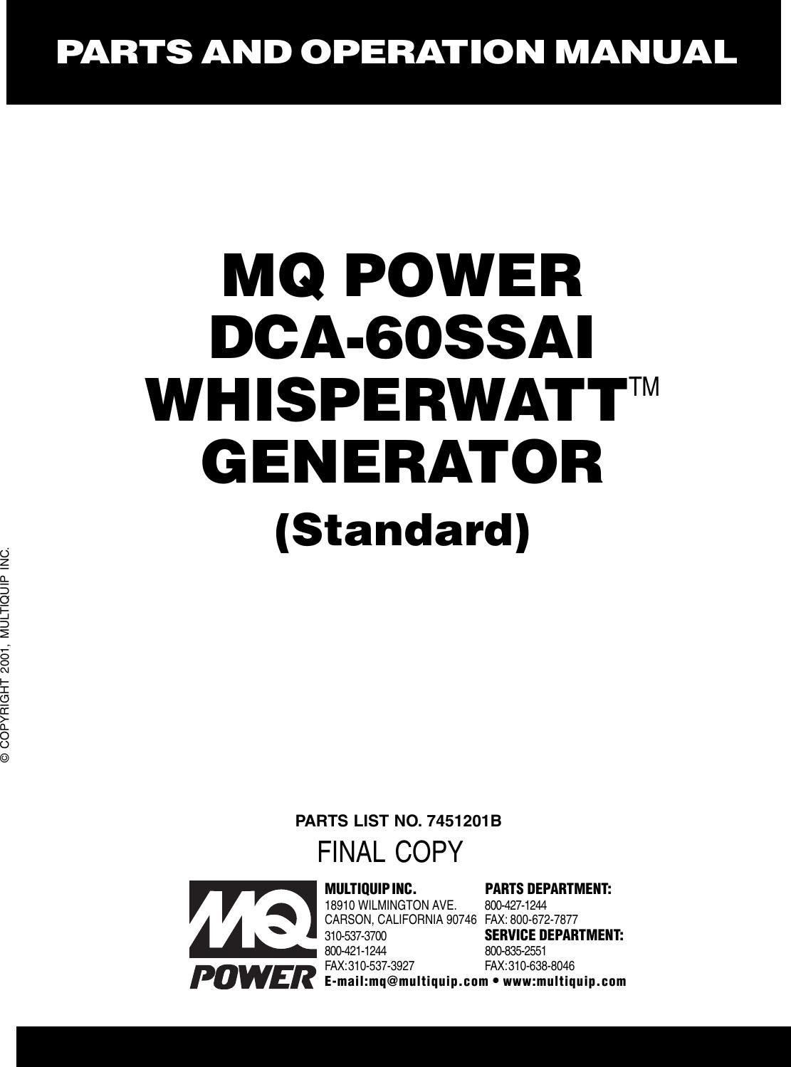 Multiquip Portable Generator Dca 60ssai Users Manual 6bb1 Isuzu Engine Diagram