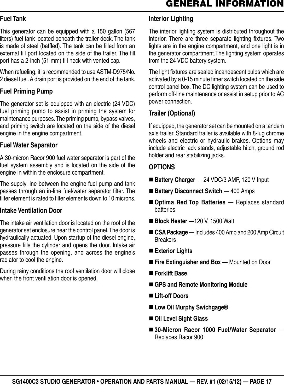 Multiquip Portable Generator Sg1400C3 55748 Users Manual