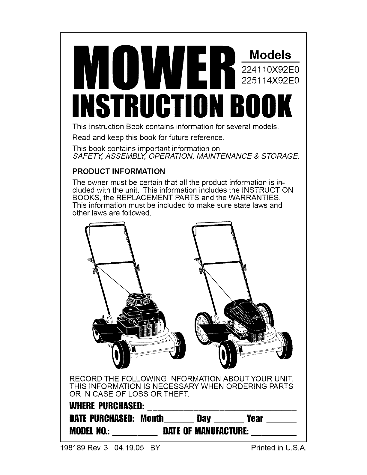 Murray 224110X92E0 User Manual MOWER Manuals And Guides L0504509 | Murray Lawn Mower Schematics |  | UserManual.wiki