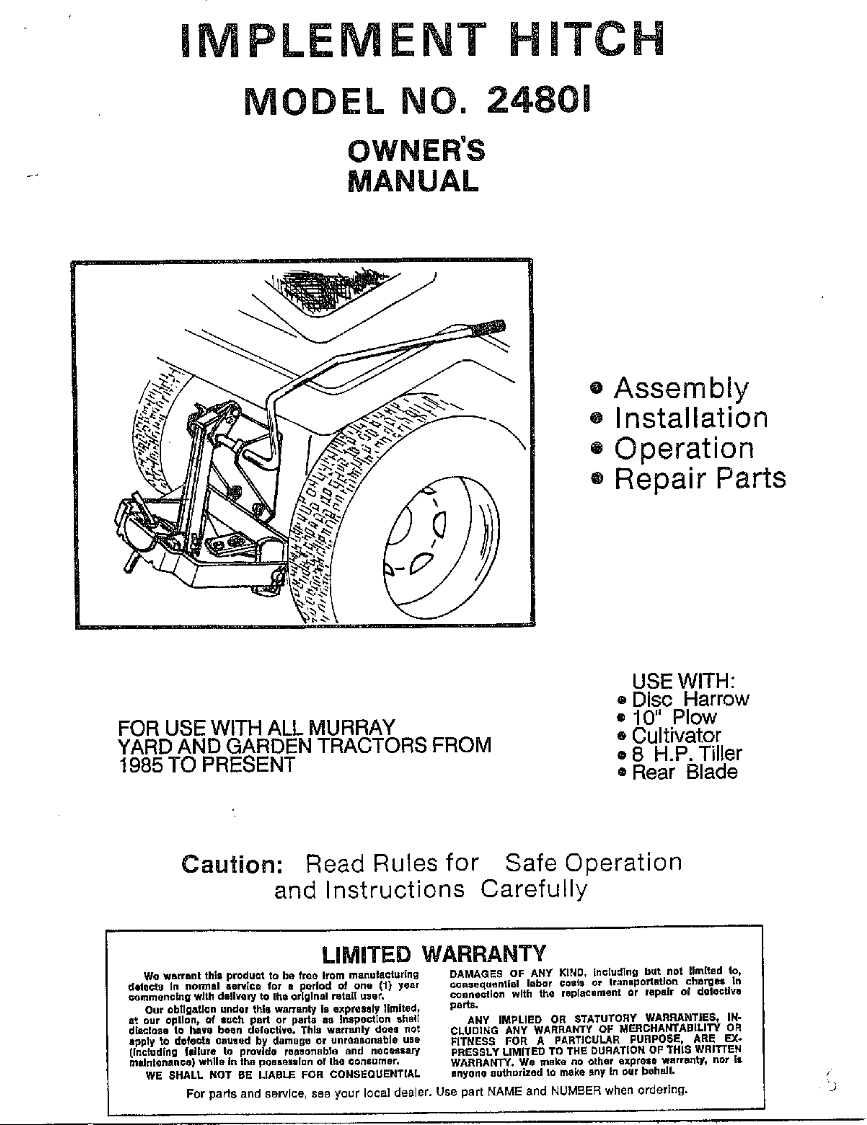 murray 24801 user manual implement hitch manuals and guides wl000508 rh usermanual wiki murray tractor user manual murray snow blower user manual