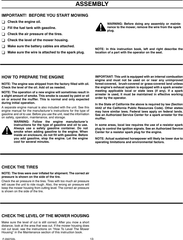 Murray 425001X99A Users Manual F 050722L