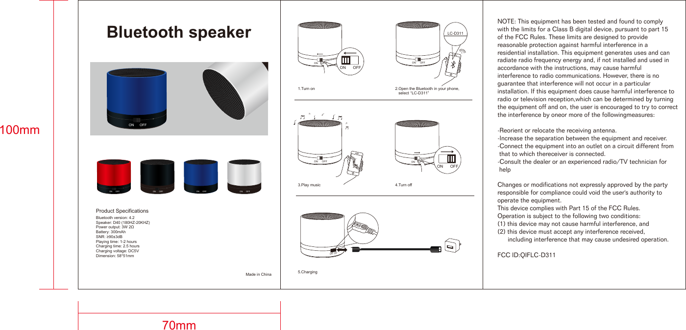 My Music Group LC-D311 Bluetooth speaker User Manual LC D311