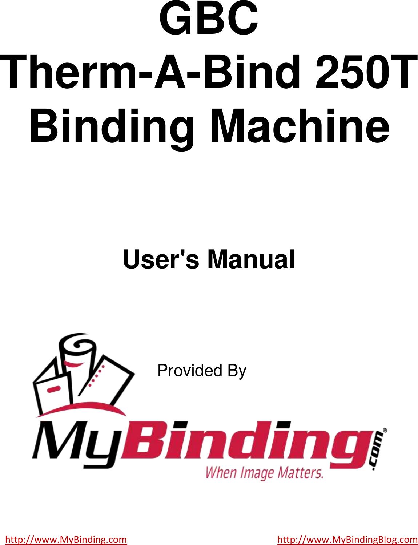 Mybinding Manual Kubota F2880 Wiring Diagram Array Gbc Therm A Bind 250t Users User Rh Usermanual Wiki