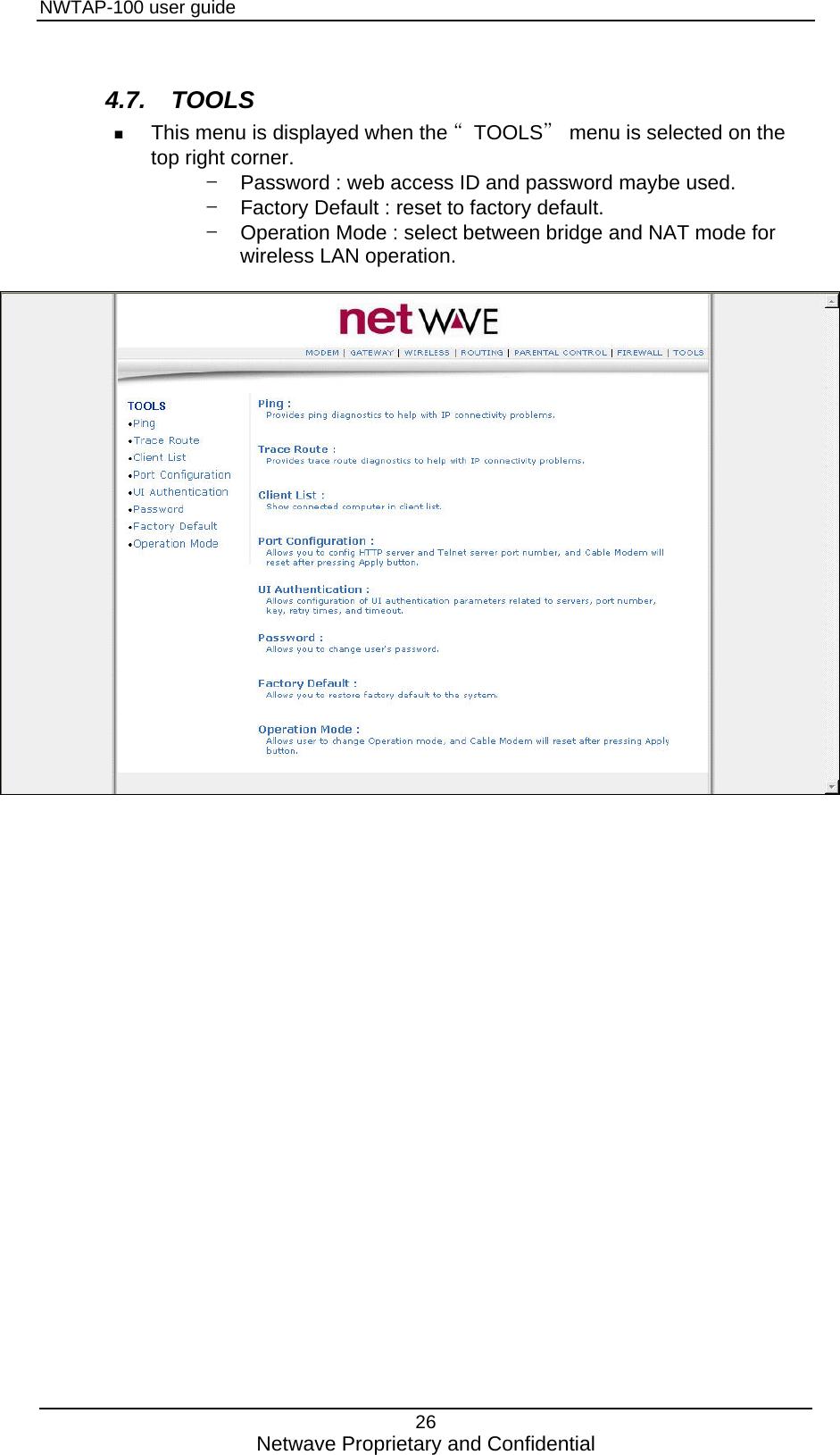 NETWAVE NWTAP-100 Wireless TAP User Manual
