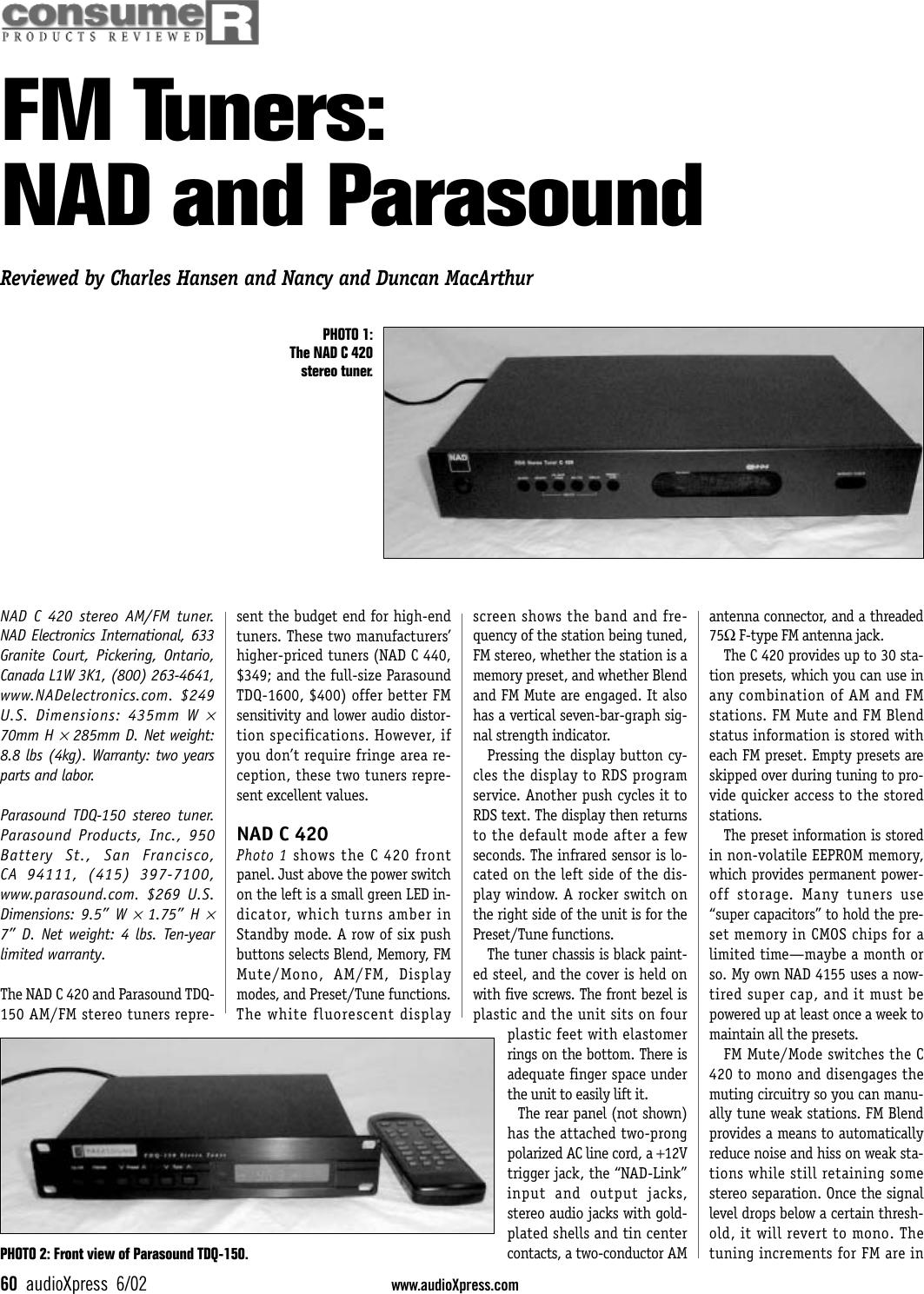 Nad Electronics C420 Users Manual 602hansen2091