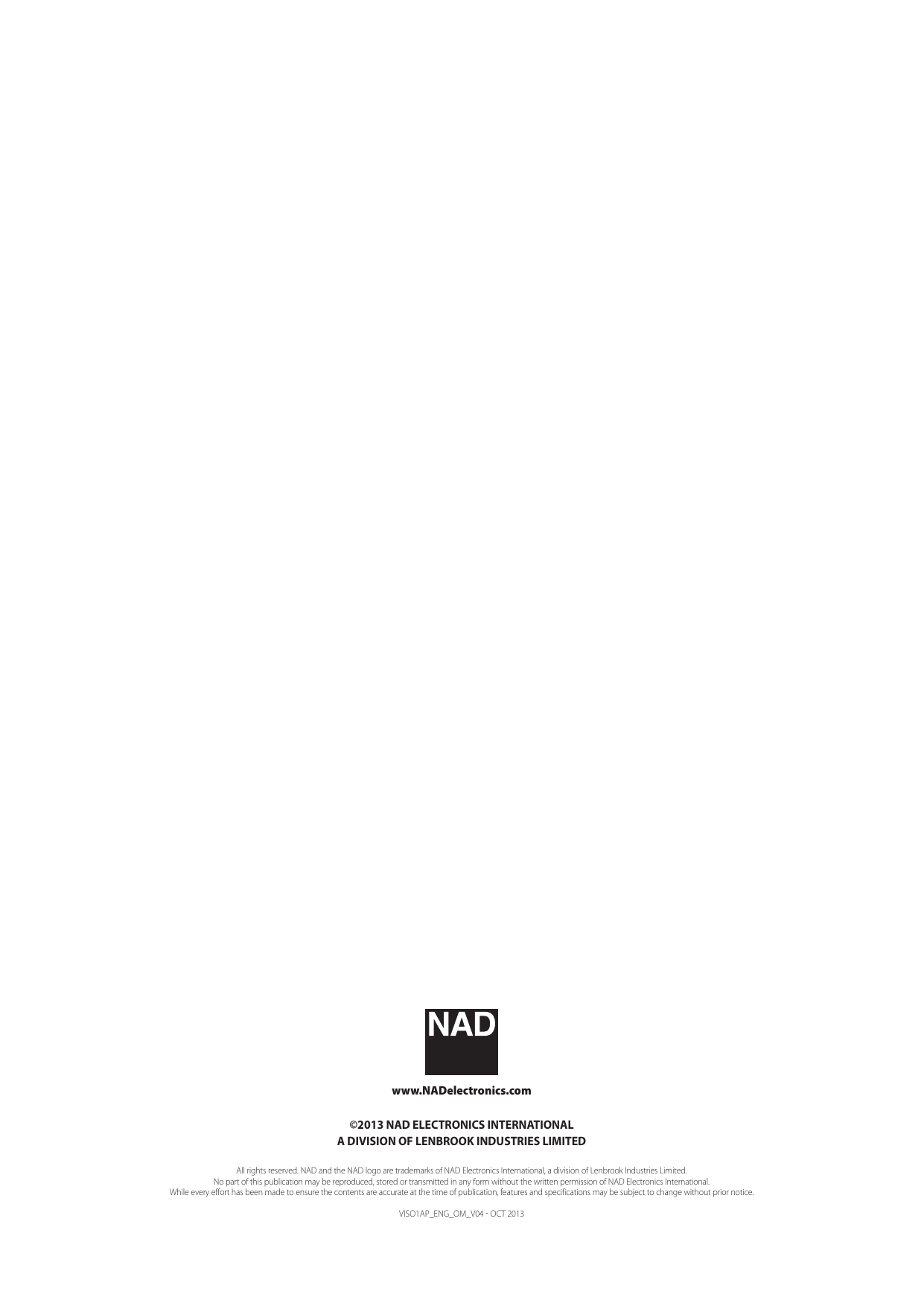 Nad Electronics Viso 1 Ap Airplay Music System Owner S Manual