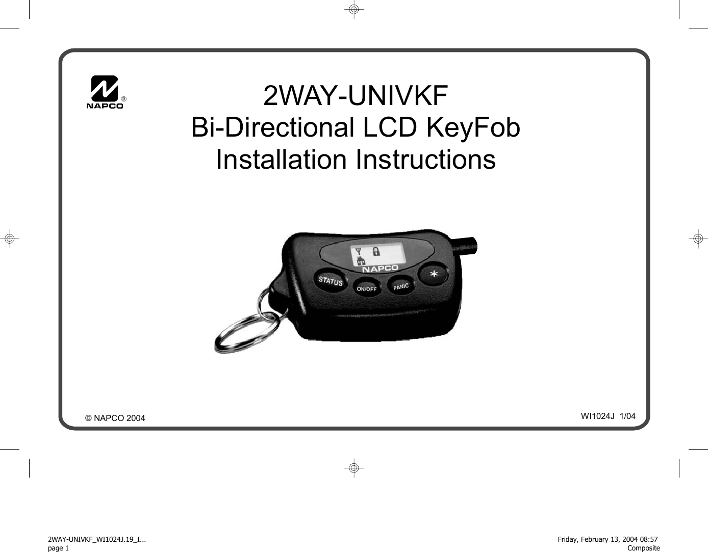 Napco Security Systems 2wayrcvr Universal 2 Way Keyfob Receiver User Gemini Alarm Wiring Diagram Manual 2way Univkf Wi1024j 19 Inst Pdf Pub