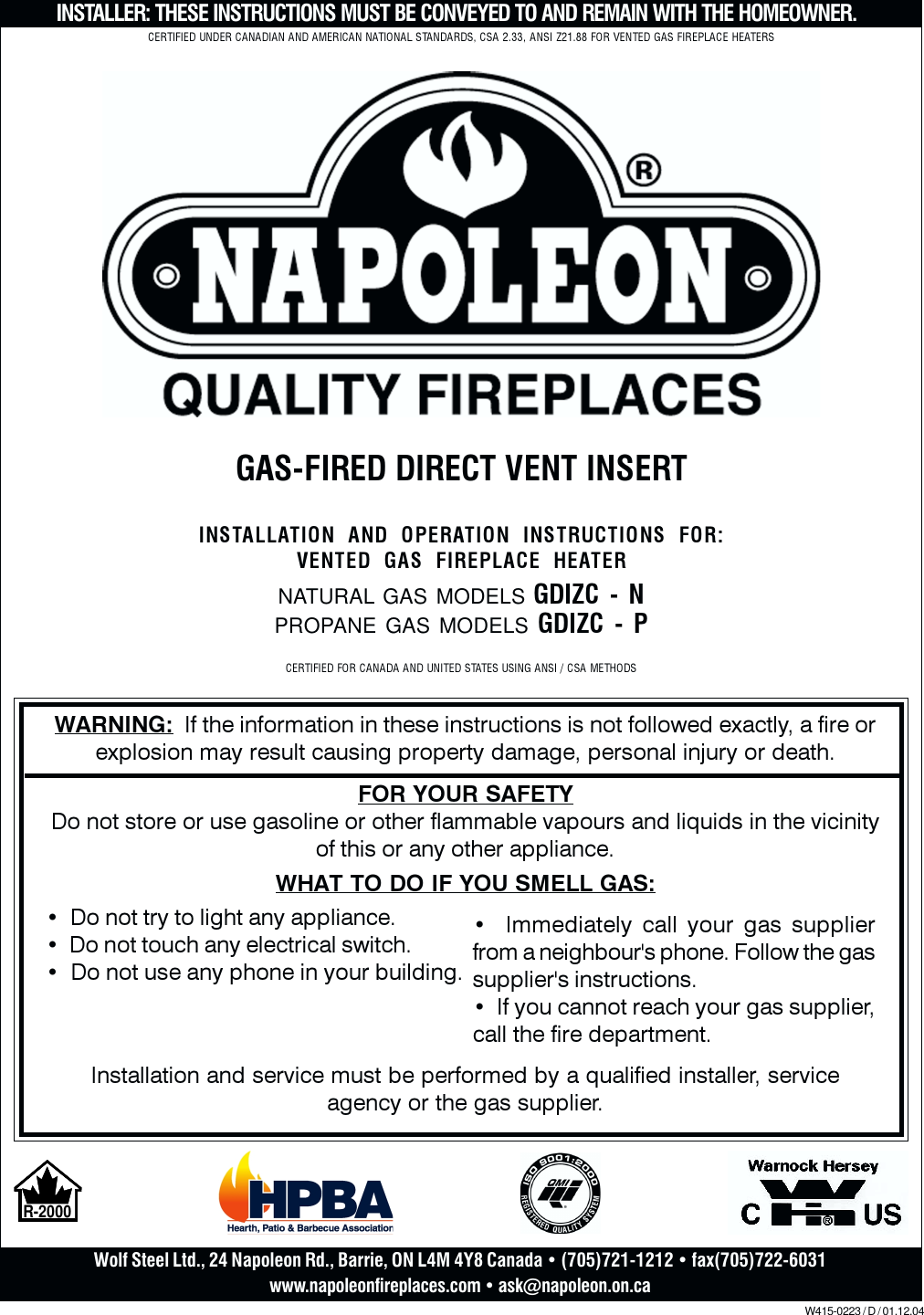 Complete Napoleon Direct Vent Fireplace Pilot Assembly Natural Gas W010-0801