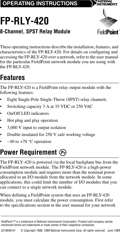 National Instruments Fp Rly 420 Users Manual Operating Instructions